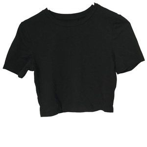 Short Sleeve Crop Top Black Size Small
